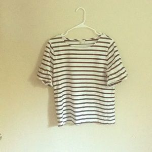 J.Crew Boatneck, Bell-sleeve Ttriped Top Size M